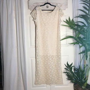Xhilaration Boho Cream Lace Maxi Dress, Size XXL